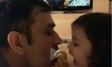 Video: Mahendra Singh Dhoni and daughter Ziva's 'Attack on besan ka Laddoo' is too adorable to miss