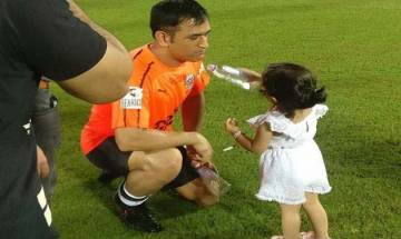 Watch video: MS Dhoni's daughter Ziva offers drinks to father in Celebrity Clasico