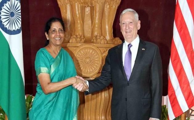 Defence Minister Nirmala Sitharaman and her US counterpart James Mattis (PTI file photo)