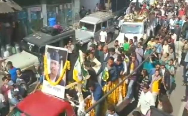 GJM supporters give Barun Bhujel, who died in police custody, killed  tribute in Kalimpong. (Source: ANI)