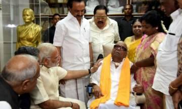 PM Modi meets former Tamil Nadu Chief Minister Karunanidhi in Chennai