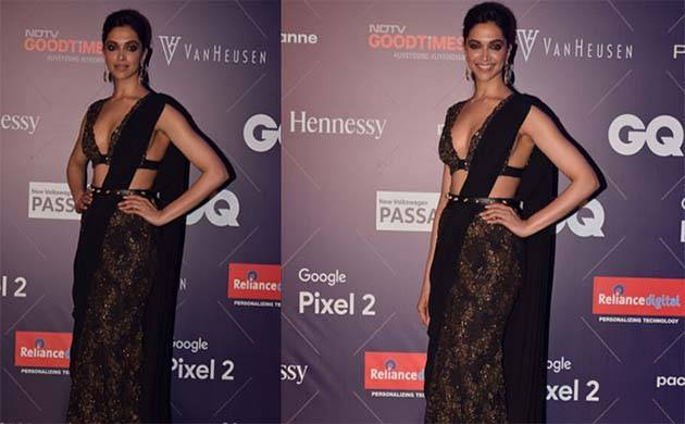 Deepika Padukone stunning look in saree at GQ Fashion Nights 2017