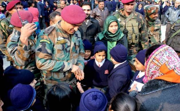 Srinagar: MS Dhoni makes surprise visit to Army Public School; tells students to balance sports and studies. (Source: Twitter/ ChinarCorps.IA)