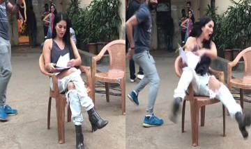 Watch: Sunny Leone gets pranked by crew member, her reaction is hilarious