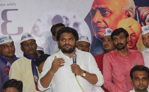 Patidar Anamat Andolan Samiti (PAAS) convener Hardik Patel addresses a public meeting at Thakkarbappanagar area in Ahmedabad (Source: IANS