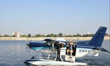 PM Narendra Modi takes seaplane from Sabarmati; offers prayers at Ambaji
