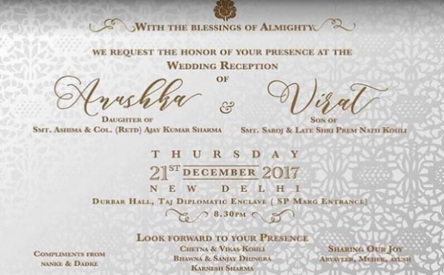 Virat Kohli, Anushka Sharma set to throw grand reception party in Delhi on December 21, 2017