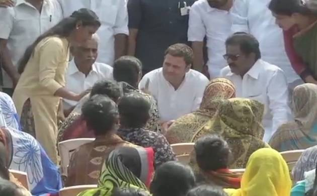 Rahul Gandhi visits Cyclone-hit areas in Kerala, meets families of affected fishermen (ANI Photo)