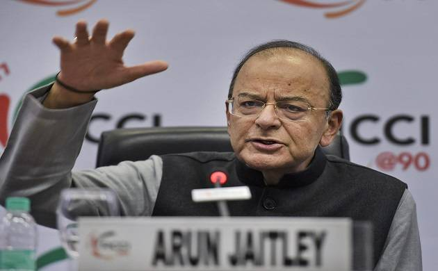 Union Finance Minister Arun Jaitley addresses during the 90th Annual General Meeting of the FICCI, in New Delhi on Thursday. PTI Photo by Kamal Singh (PTI)