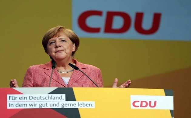 German Chancellor Angela Merkel speaks during an election rally (FIle photo-IANS)