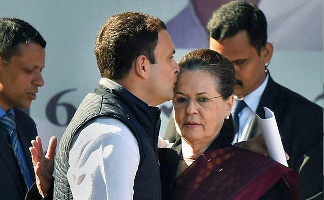Rahul Gandhi kissing on the forehead of his mother Sonia Gandhi during his elevation ceremony (PTI Photo)