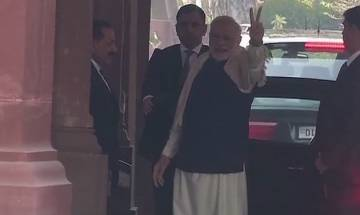 Watch | Gujarat, Himachal election results 2017: PM Modi flashes victory sign in Parliament