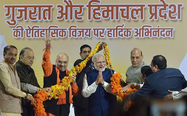 Gujarat stays with Modi, Himachal Pradesh knocks off Congress