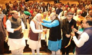 PM Modi gets emotional at BJP meet; hails Gujarat, HP polls victory, says 'we rule 19 states, even Indira Gandhi had 18'