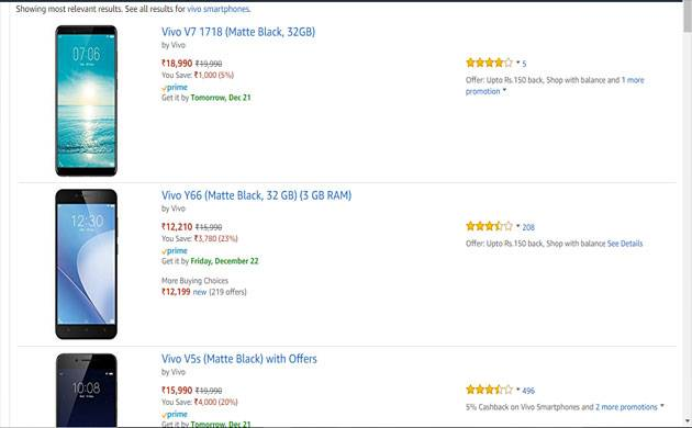 Amazon Vivo Carnival: Exciting offers on Vivo smartphones including Vivo V7+, Vivo V7 (Source: Screen Grab)