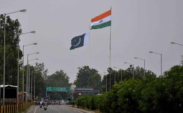 A view of the India and Pakistan's national flag at Attari international border  (IANS photo)