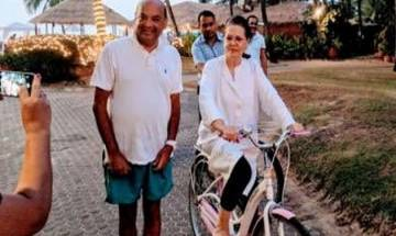 As Rahul Gandhi takes charge, mom Sonia goes cycling in Goa