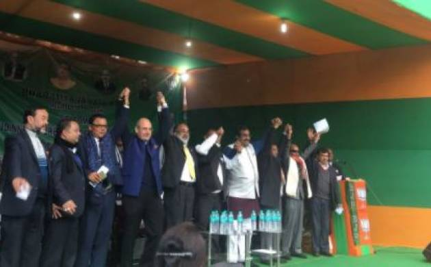 Four Meghalaya Cong MLAs join BJP in presence of Union Minister KJ Alphons and BJP leader Ram Madhav (ANI)
