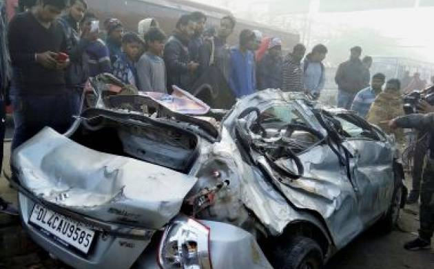 The wreckage of the car which met with an accident near Alipur village of Delhi, (Source: PTI)