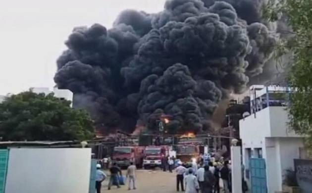 Massive fire engulfs chemical factory in Gujarat's Vadodara (ANI Photo)