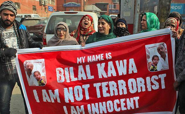 Family of Bilal Ahmed Kawa, held for Red Fort attack, alleges conspiracy (PTI photo)