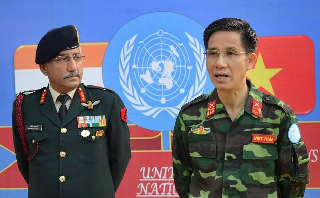 Vietnamese army officer Sr Col Luu Dien Hien addresses the media as Lt Gen Sanjeev Kanal (GOC) looks on, during India-Vietnam Bilateral Army  (Source: PTI)