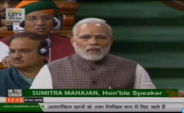 Prime Minister Narendra Modi replying to the motion of thanks on the President's Address in the Lok Sabha on Feb. 7, 2018. (Photo: Video Grab/IANS)
