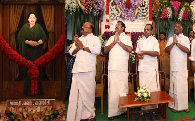 Jayalalithaa's portrait unveiled in TN Assembly, DMK says 'black day' (Source: O Panneerselvam/Twitter)