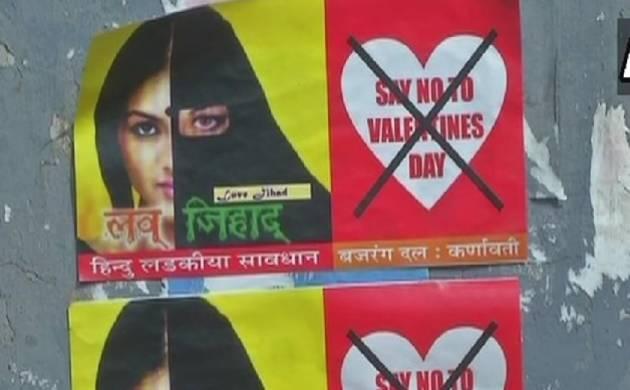 Ahmedabad: Bajrang Dal puts anti love-jihad posters, warns Hindu girls from celebrating Valentine's Day (Source: ANI)