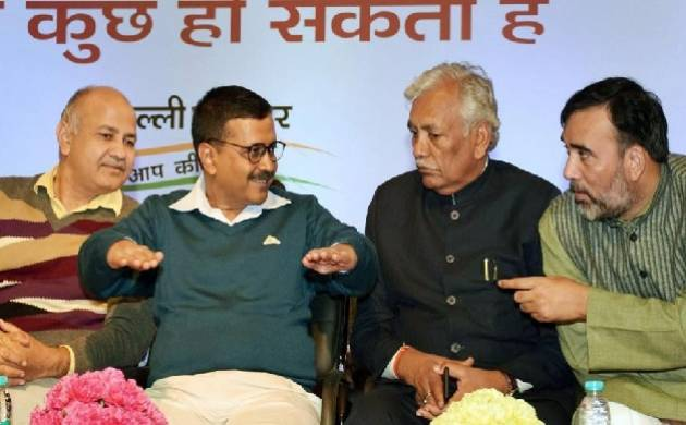 Delhi chief minister Arvind Kejriwal, deputy CM Manish Sisodia, speaker Ram Niwas Goel and Delhi labour minister Gopal Rai at a function on the completion of three years of AAP government (Source: PTI)
