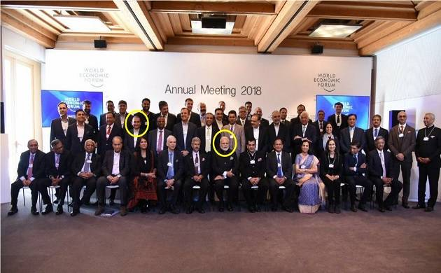 PM Modi along with PNB bank accused Nirav Modi and others at World Economic Forum in Davos  (Image ctsy: Twitter @GauravPandhi )