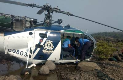 Indian Coast Guard helicopter crashes in Maharashtra's Raigad, pilot injured