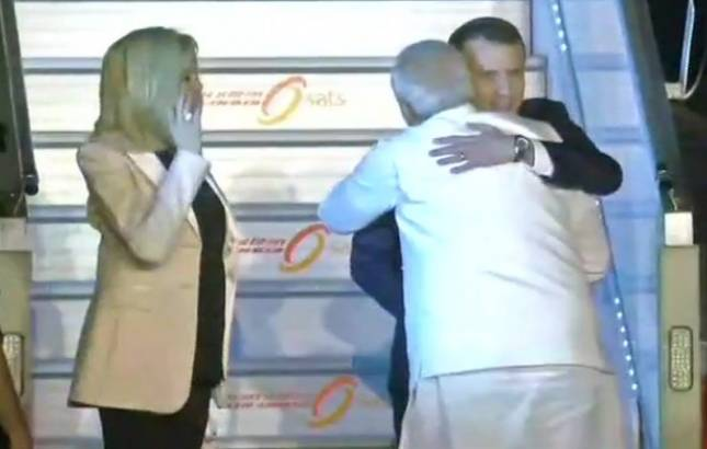 French President Emmanuel Macron arrives in India, gets PM Modi's welcome hug (ANI Photo)