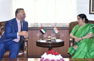 External Affairs Minister Sushma Swaraj meets UAE's Foreign Affairs Minister Anwar Gargash