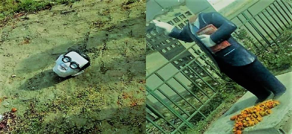 A statue of BR Ambedkar was vandalised in Uttar Pradesh (image source: PTI)