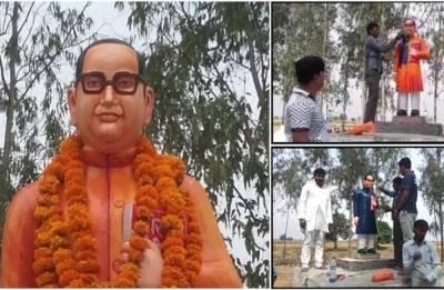 BR Ambedkar's statue freshly installed in Badaun after being vandalised; repainted blue