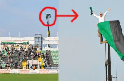 Turkish football fan hires crane to watch Denizlispor play after stadium ban