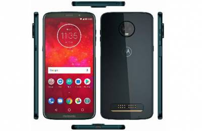 Moto Z3 Play render leak displays deep indigo shades, edge-mounted fingerprint scanner, Moto Mods support