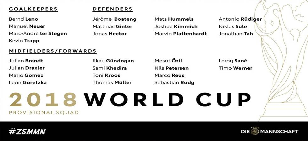 Germany has announced its 27-man provisional squad for the upcoming FIFA World Cup (Source: Germany Football twitter)