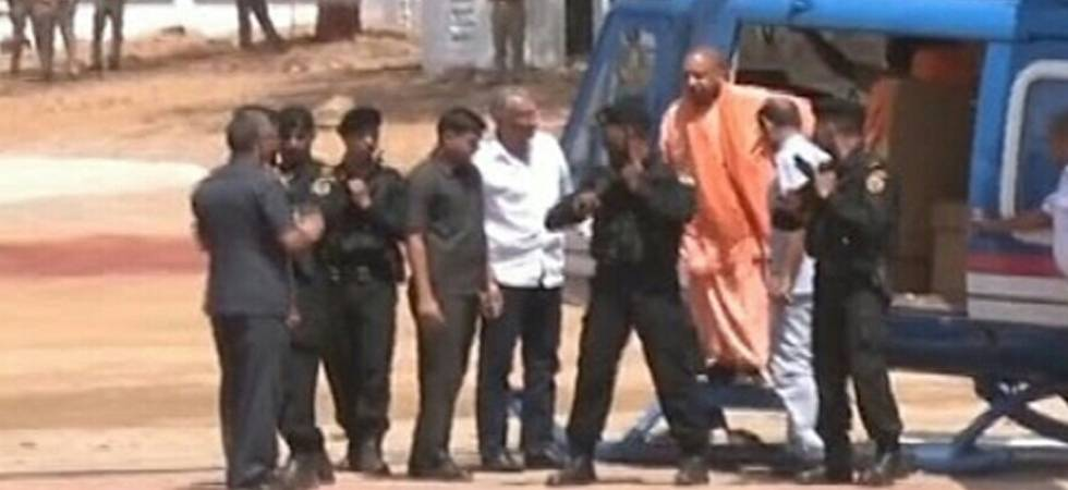 Yogi Adityanath's chopper forced to land on field in Kasganj, CM safe (Picture quality regretted)