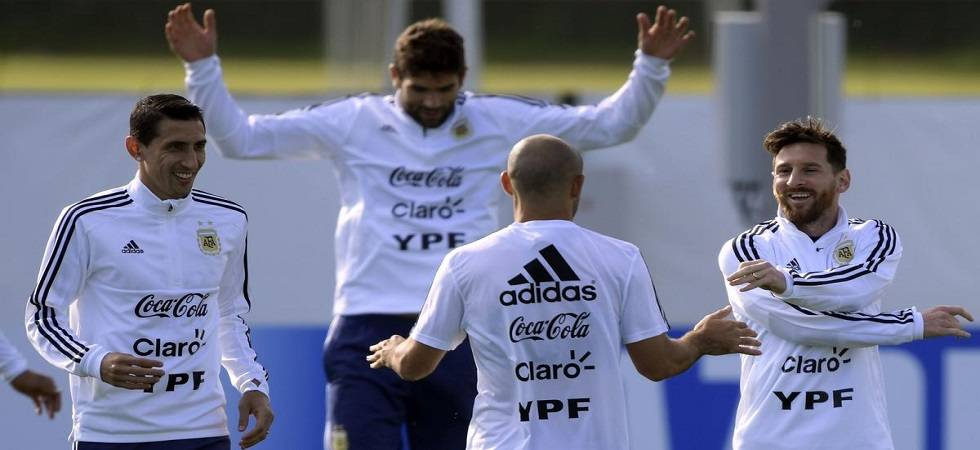 The chants of 'Messi, Messi' erupted as the Barcelona forward walked to the pitch for an hour-long practice