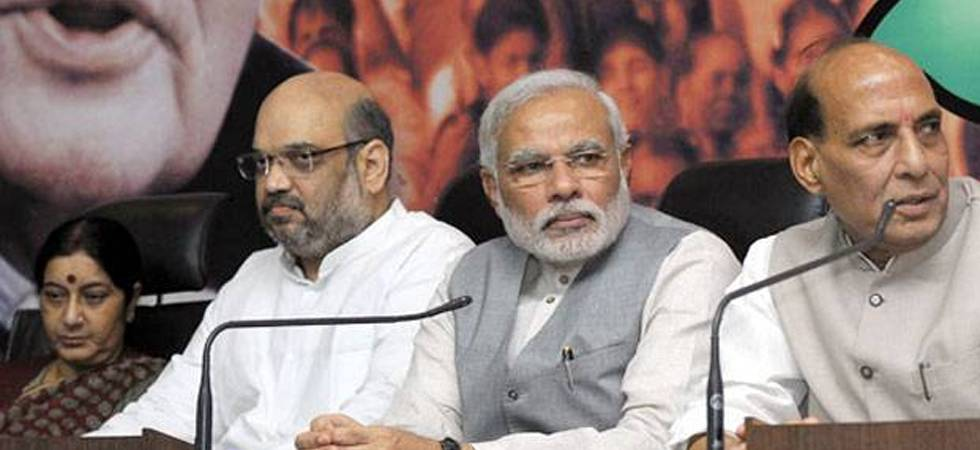 R-L (Rajnath Singh, PM Modi, Amit Shah, Sushma Swaraj )