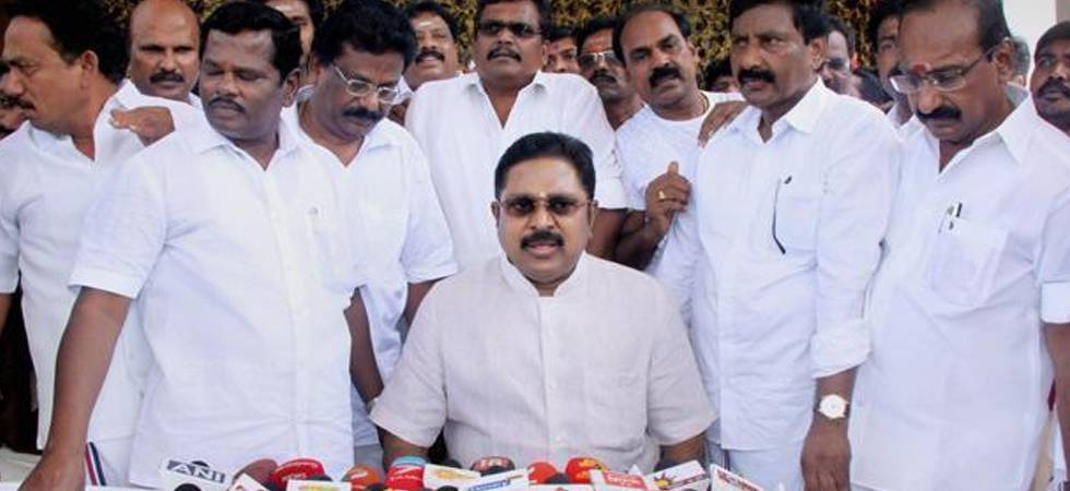 AIADMK (Amma) deputy general secretary TTV Dhinakaran along with party MLAs. (Photo: PTI)