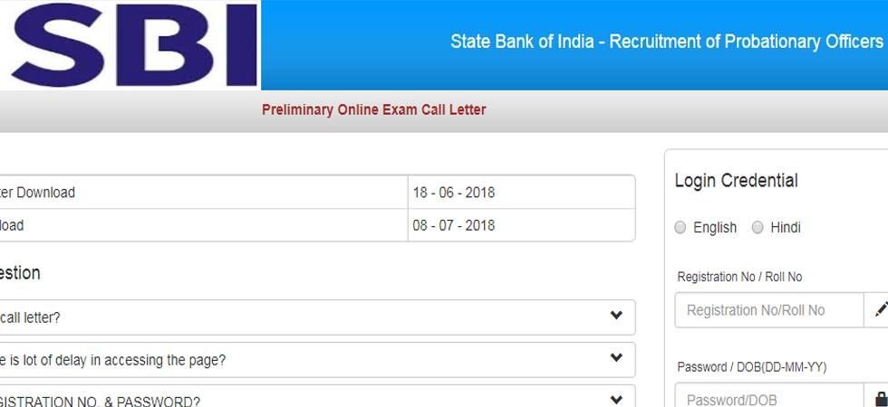 State Bank of India PO 2018 admit card released @sbi.co.in