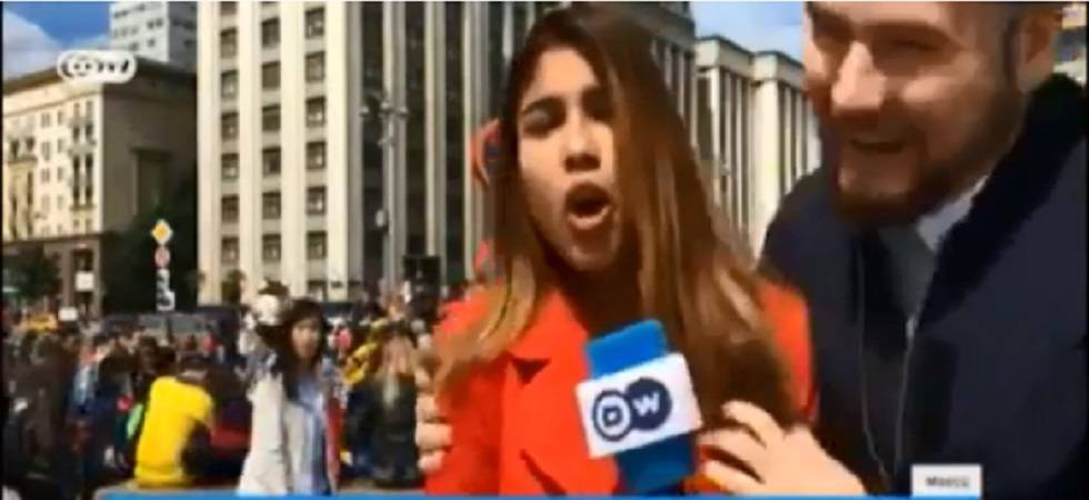 Reporter groped, kissed during live FIFA world cup broadcast in Russia (Video Grab)
