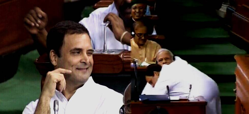 After the attack, Rahul winks and hugs Modi amid cheers and applause in House (Photo: ANI Twitter)