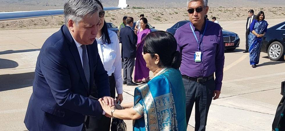 Swaraj concludes Kyrgyzstan visit, leaves for Uzbekistan (Photo- Twitter/@MEAIndia)