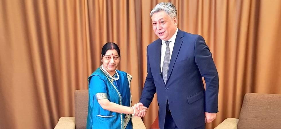 Sushma Swaraj meets Kyrgyzstan Foreign Minister Erlan Abdyldaev in Bishkek (Photo- Twitter/@MEA)