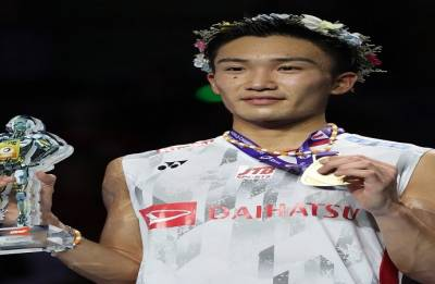 Momota first Japanese man to win badminton worlds