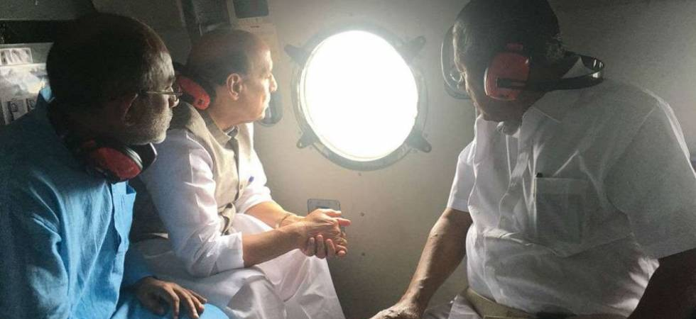 Kerala flood: Rajnath Singh surveys flood-hit areas (File Photo)